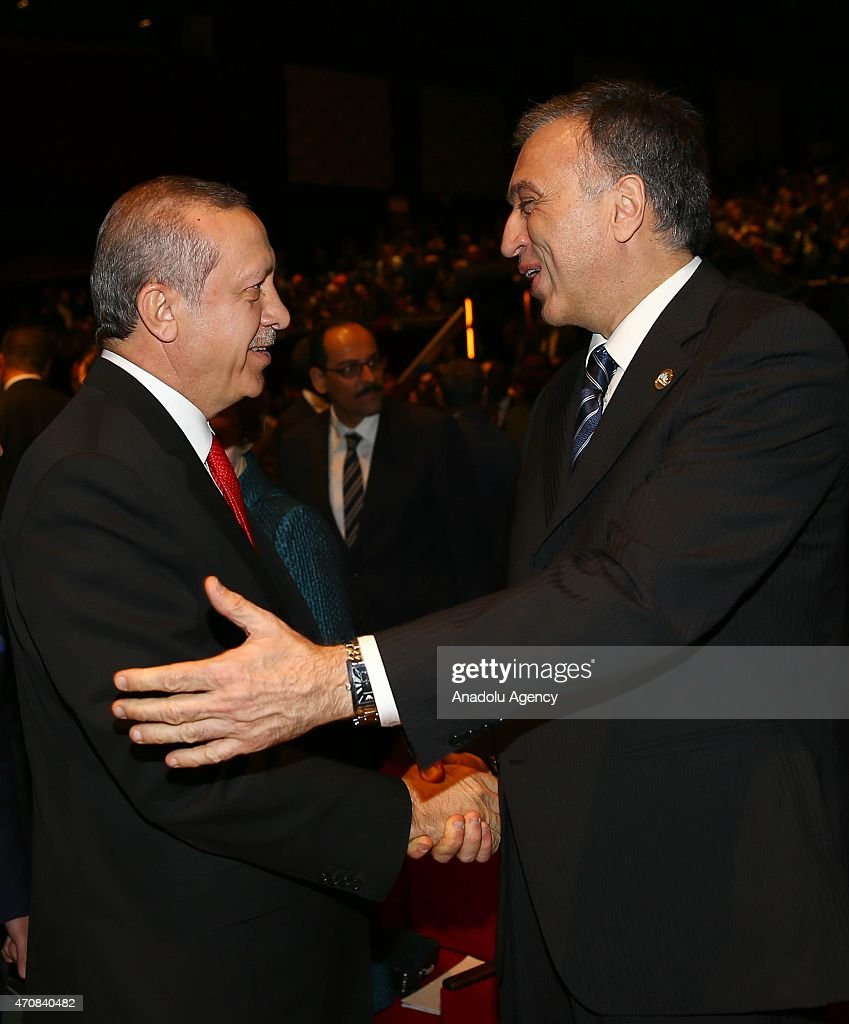 Turkish President <a gi-track='captionPersonalityLinkClicked' href=/galleries/search?phrase=Recep+Tayyip+Erdogan&family=editorial&specificpeople=213890 ng-click='$event.stopPropagation()'>Recep Tayyip Erdogan</a> (L) shakes hand with President of the Republic of Montenegro <a gi-track='captionPersonalityLinkClicked' href=/galleries/search?phrase=Filip+Vujanovic&family=editorial&specificpeople=596296 ng-click='$event.stopPropagation()'>Filip Vujanovic</a> (R) during a session within the High Level Peace Summit on the 100th Anniversary of Canakkale Land and Sea Battles at Istanbul Congress Center in Istanbul, Turkey on April 23, 2015. The year 2015 marks the 100th anniversary of the battle in the Dardanelles Strait in Canakkale province's peninsula of Gallipoli, at which there was a turnaround in favor of the Turks and other Ottoman citizens fighting in World War I against the Allied Forces. Turkey will commemorate the 100th anniversary of the Battle of Canakkale to be held from April 24 to 25, with presidents, parliamentary speakers, prime ministers, and officials from all over the world.