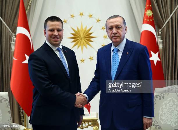 Turkish President Recep Tayyip Erdogan shakes hands with Estonian Prime Minister Juri Ratas ahead of their meeting at Presidential Complex in Ankara...