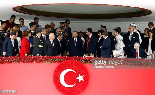 Turkish President Recep Tayyip Erdogan Speaker of the Parliament of Turkey Cemil Cicek Turkish Prime Minister Ahmet Davutoglu Leader of Turkey's main...