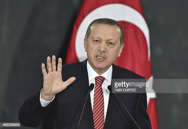 Turkish President Recep Tayyip Erdogan speaks at the National Palace in Mexico City on February 12 2015 Erdogan is in Mexico on a twoday official...