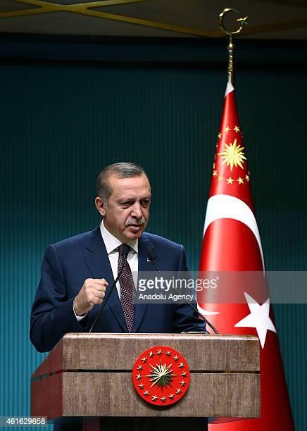 Turkish President Recep Tayyip Erdogan speaks at the presidential palace in Ankara Turkey on January 16 2015