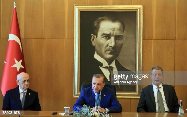 Turkish President Recep Tayyip Erdogan speaks during a press conference ahead of his departure for India at the Ataturk International Airport's...