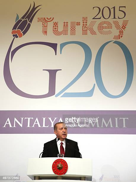 Turkish President Recep Tayyip Erdogan speaks during a press conference on day two of the G20 Turkey Leaders Summit on November 16 2015 in Antalya...