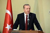Turkish President Recep Tayyip Erdogan speaks during a press conference with Somalian President Hassan Sheikh Mohamoud in Mogadishu Somalia on...