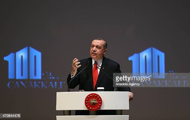 Turkish President Recep Tayyip Erdogan speaks during a session within the High Level Peace Summit on the 100th Anniversary of Canakkale Land and Sea...