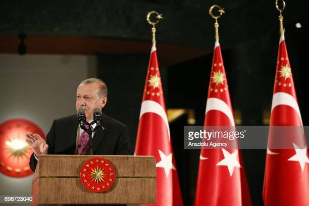 Turkish President Recep Tayyip Erdogan speaks during an iftar dinner hosted by him with the tradesman at Presidential Complex in Ankara Turkey on...