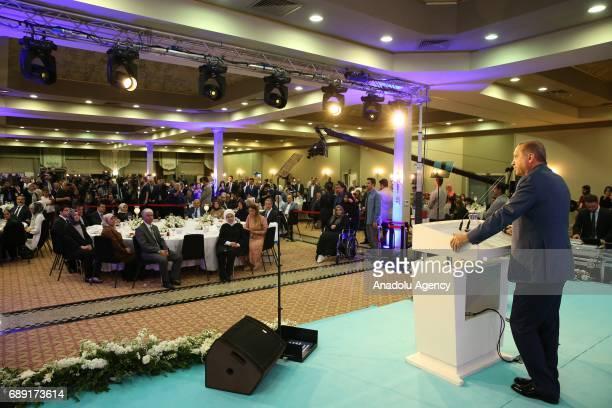 Turkish President Recep Tayyip Erdogan speaks during fastbreaking program with martyrs' relatives in Istanbul Turkey on May 27 2017