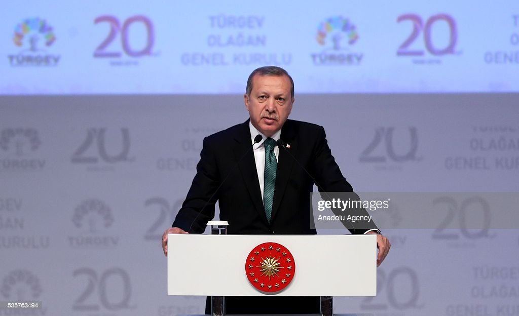 Turkish President Recep Tayyip Erdogan speaks during the 20th anniversary of Service for Youth and Education Foundation of Turkey (TURGEV) at Halic Congress Center in Istanbul, Turkey on May 30, 2016.
