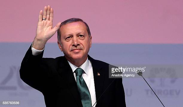 Turkish President Recep Tayyip Erdogan speaks during the 20th anniversary of Service for Youth and Education Foundation of Turkey at Halic Congress...
