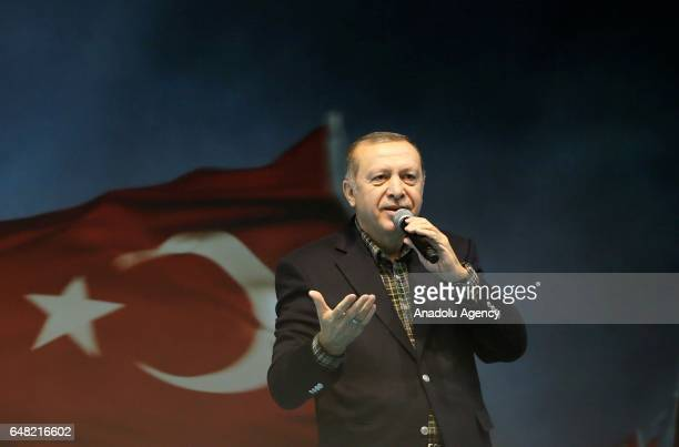 Turkish President Recep Tayyip Erdogan speaks during the Meeting of Women and Democracy Event organized by KADEM at Abdi Ipekci Arena in Istanbul...