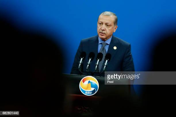Turkish President Recep Tayyip Erdogan speaks during the opening ceremony of the Belt and Road Forum on May 14 2017 in Beijing China The Belt and...