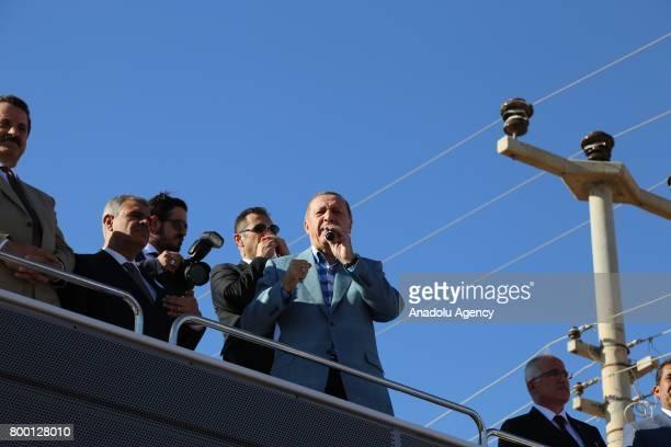 Turkish President Recep Tayyip Erdogan speaks the crowd at Ceylanpinar district of Sanliurfa Turkey on June 23 2017