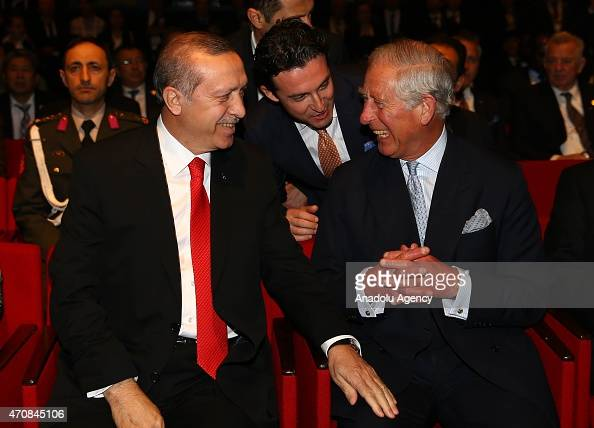 Turkish President Recep Tayyip Erdogan speaks with Prince Charles during a session within the High Level Peace Summit on the 100th Anniversary of...