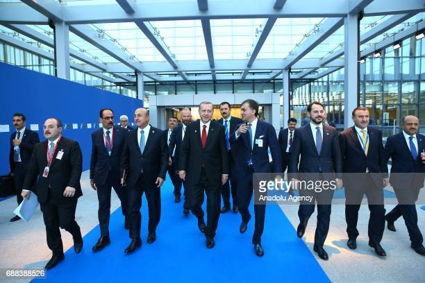 Turkish President Recep Tayyip Erdogan takes part in the NATO Leaders' Summit at the NATO headquarters in Brussels Belgium on May 25 2017