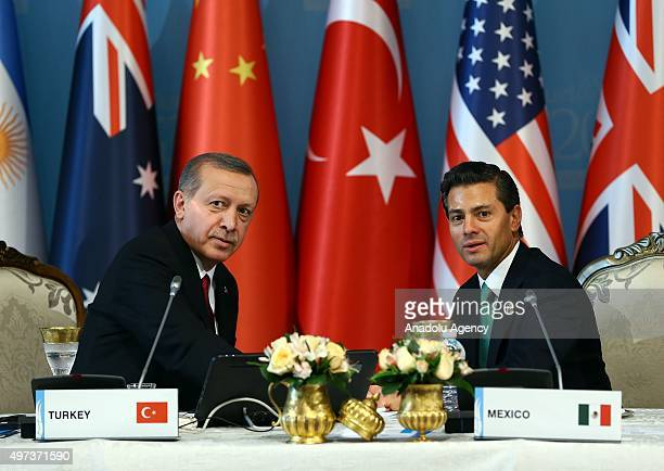 Turkish President Recep Tayyip Erdogan talks to Mexican President Enrique Pena Nieto following a working session on day two of the G20 Turkey Leaders...