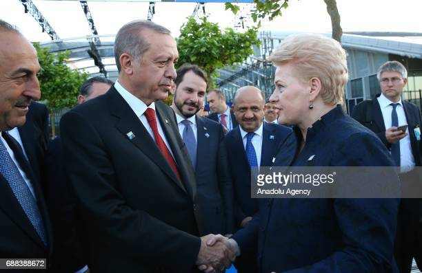 Turkish President Recep Tayyip Erdogan talks with Lithuanian President Dalia Grybauskaite during the NATO Leaders' Summit at the NATO headquarters in...