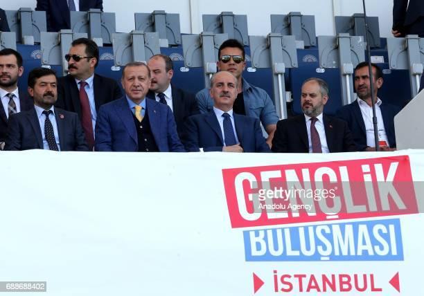Turkish President Recep Tayyip Erdogan Turkish Deputy PM Numan Kurtulmus and Turkish Minister of Youth and Sports Akif Cagatay Kilic attend a...