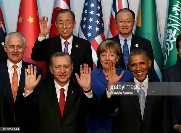Turkish President Recep Tayyip Erdogan US President Barack Obama Australian Prime Minister Malcolm Turnbull German Chancellor Angela Merkel UN...
