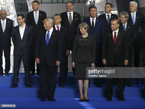 Turkish President Recep Tayyip Erdogan US President Donald Trump Britain's Prime Minister Theresa May NATO Secretary General Jens Stoltenberg Spanish...