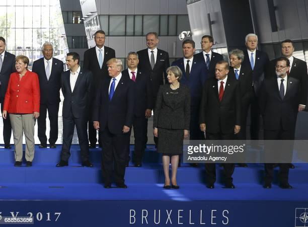 Turkish President Recep Tayyip Erdogan US President Donald Trump Britain's Prime Minister Theresa May NATO Secretary General Jens Stoltenberg German...