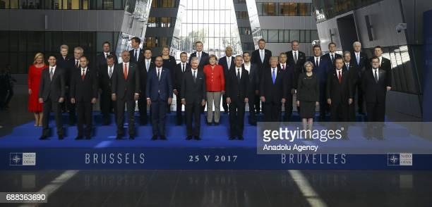 Turkish President Recep Tayyip Erdogan US President Donald Trump Britain's Prime Minister Theresa May German Chancellor Angela Merkel Spanish Prime...
