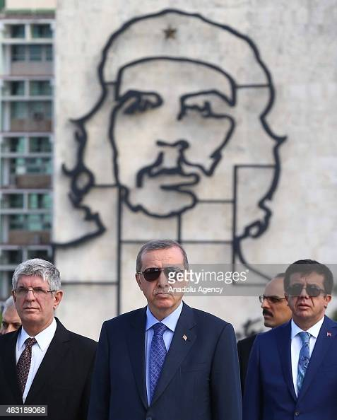 Turkish President Recep Tayyip Erdogan visits Jose Marti's monument during his Cuba visit in Havana on February 11 2015 This is the second visit of a...
