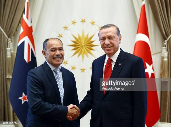 Turkish President Recep Tayyip Erdogan welcomes New Zealand's GovernorGeneral Jerry Mateparae prior to a meeting at the Presidential Palace in Ankara...
