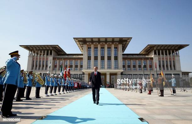 Turkish President Recep Tayyip Erdogan welcomes Nigerian President Muhammadu Buhari with an official welcoming ceremony at Presidential Palace in...