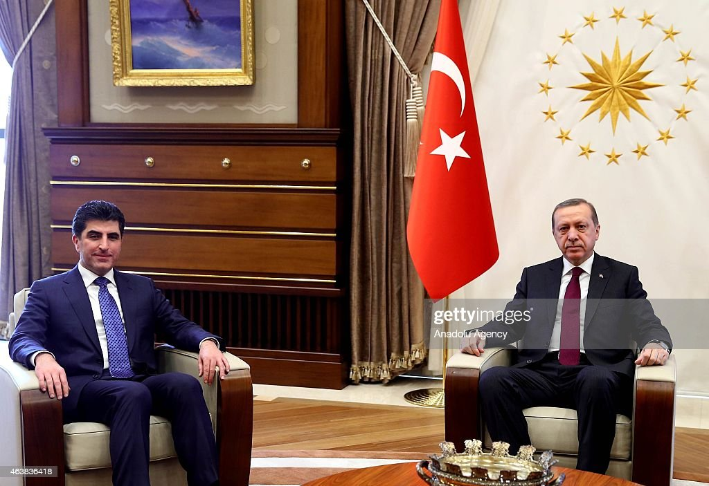 Turkish President <a gi-track='captionPersonalityLinkClicked' href=/galleries/search?phrase=Recep+Tayyip+Erdogan&family=editorial&specificpeople=213890 ng-click='$event.stopPropagation()'>Recep Tayyip Erdogan</a> (R) welcomes Prime Minister of Iraqi Kurdish Regional Government (KRG) Nechervan Barzani (L) at presidential palace in Ankara, Turkey, on February 19, 2015