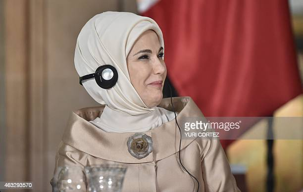 Turkish President Recep Tayyip Erdogan wife's Emine Erdogan listens to the speech of Mexico's President Enrique Pena Nieto at the National Palace In...