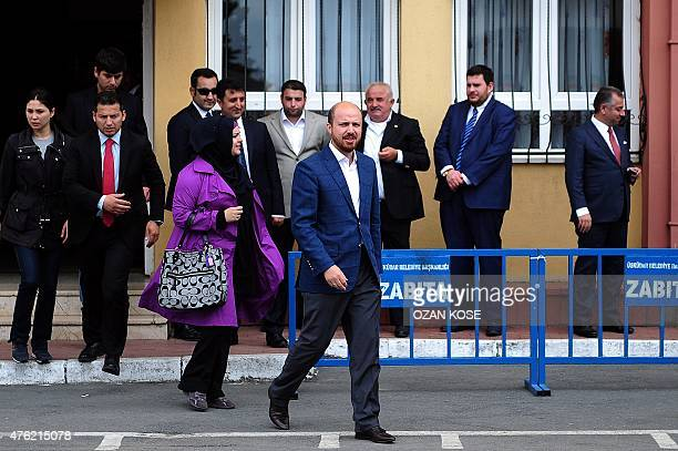 Turkish President Recep Tayyip Erdogan's son Bilal Erdogan leaves a polling station after casting his vote for Turkey's general election in Istanbul...