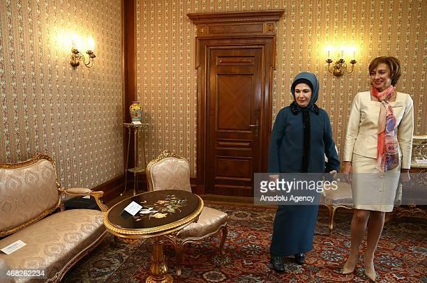 Turkish President Recep Tayyip Erdogan's wife Emine Erdogan and Carmen Iohannis wife of Romanian President Klaus Werner Iohannis take a visit at...