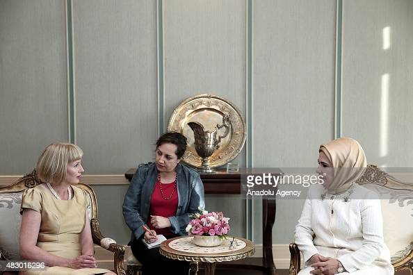 Turkish President Recep Tayyip Erdogan's wife Emine Erdogan and New Zealand's GovernorGeneral Jerry Mateparae's wife Janine meet at the Presidential...
