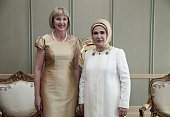 Turkish President Recep Tayyip Erdogan's wife Emine Erdogan and New Zealand's GovernorGeneral Jerry Mateparae's wife Janine pose for a photo at the...