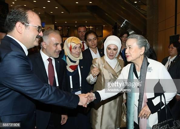 Turkish President Recep Tayyip Erdogan's wife Emine Erdogan attends a session named 'Turkeys Humanitarian Aid Perspective' held within World...