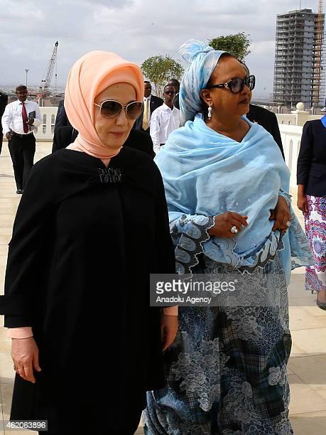 Turkish President Recep Tayyip Erdogan's wife Emine Erdogan is welcomed by President of Djibouti Ismail Omar Guelleh's wife Kadra Mahamoud Haidin in...