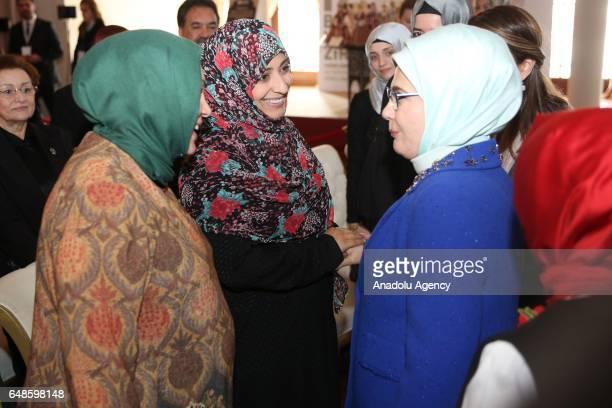 Turkish President Recep Tayyip Erdogan's wife Emine Erdogan talks with Yemeni women's rights activist and 2011 Nobel peace laureate Tawakkol Karman...