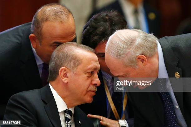 Turkish President Tayyip Erdogan and Belarus President Alexander Lukashenko attend a summit at the Belt and Road Forum on May 15 2017 in Beijing...