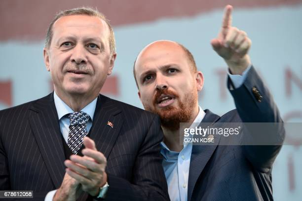 Turkish President Tayyip Erdogan and his son Bilal Erdogan stay on the stage during Istanbul Youth Festival in Istanbul on May 4 2017 Turkish...