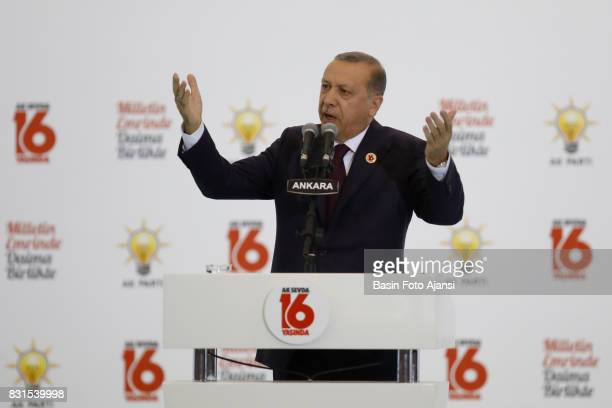 Turkish President Tayyip Erdogan makes a speech during a ceremony to mark the 16th anniversary of the Justice and Development Party's foundation in...