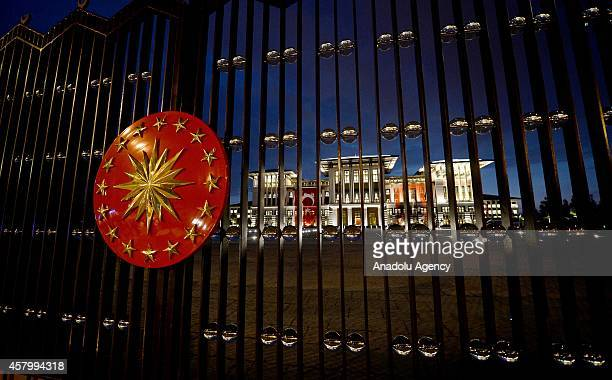 Turkish Presidential Seal is seen on the gate of Turkey's new Presidential Palace built inside Ataturk Forest Farm and going to be used for Turkey's...