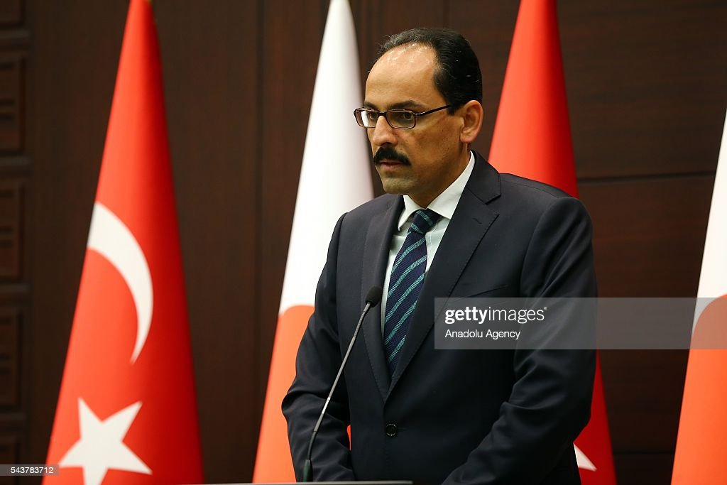 Turkish presidential spokesman Ibrahim Kalin delivers a speech during press conference about signing a cooperation agreement regarding the foundation of Turkish-Japanese Science and Technology University in Istanbul, in Ankara, Turkey on June 30, 2016.