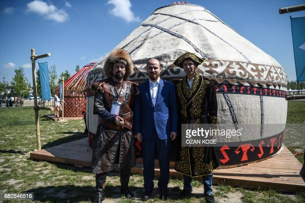 Turkish President's son Bilal Erdogan poses next to a tent on May 11 during the Ethnosports Culture Festival in Istanbul Some 800 athletes gathered...