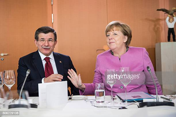 Turkish Prime Minister Ahmet Davutoglu and German Chancellor Angela Merkel during GermanTurkish government consultations at the Chancellery on...
