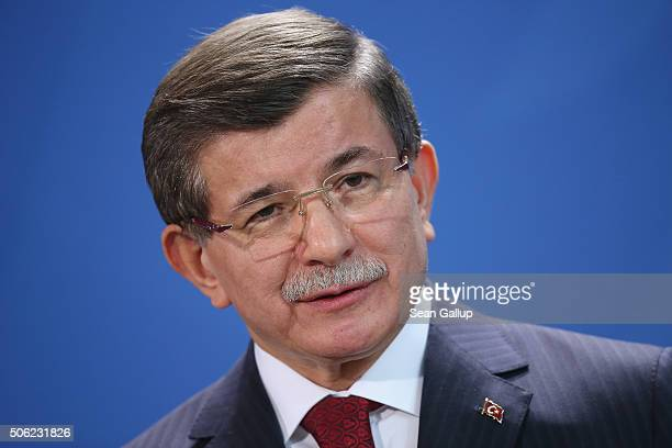 Turkish Prime Minister Ahmet Davutoglu and German Chancellor Angela Merkel speak to the media following GermanTurkish government consultations at the...
