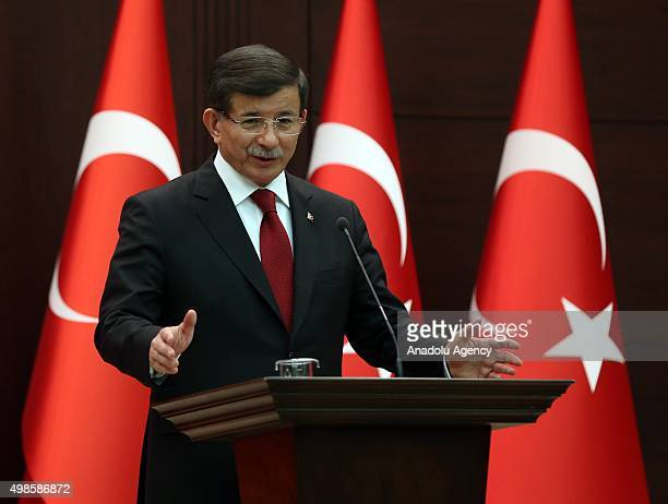 Turkish Prime Minister Ahmet Davutoglu announces his new Cabinet at a press conference at Cankaya Palace in Ankara Turkey following his meeting with...