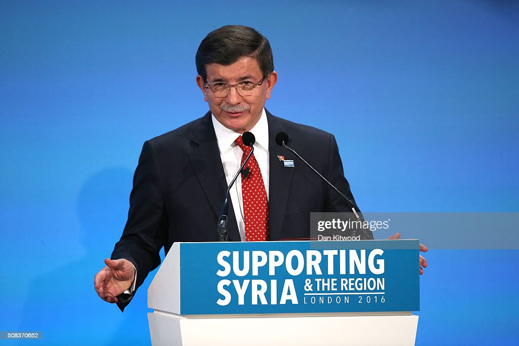 Turkish Prime Minister <a gi-track='captionPersonalityLinkClicked' href=/galleries/search?phrase=Ahmet+Davutoglu&family=editorial&specificpeople=4940018 ng-click='$event.stopPropagation()'>Ahmet Davutoglu</a> at the 'Supporting Syria Conference' at The Queen Elizabeth II Conference Centre on February 4, 2016 in London, England. World leaders including British Prime Minister David Cameron and German Chancellor Angela Merkel will gather for the 4th annual donor conference in an attempt to raise £6.2bn GBP to those affected by the war in Syria.