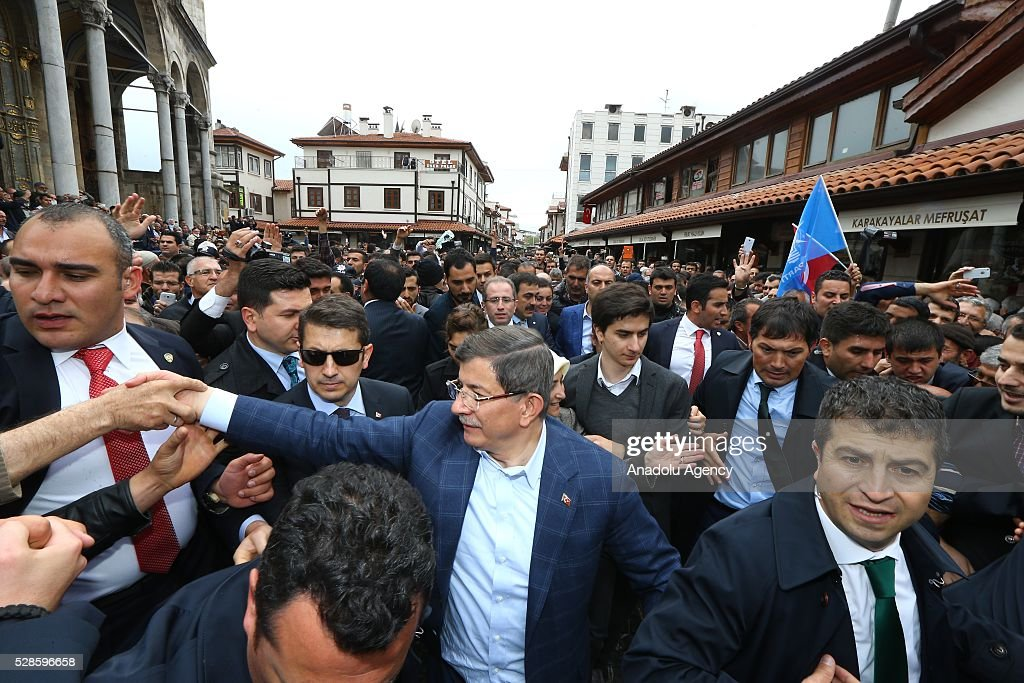 Turkish Prime Minister Ahmet Davutoglu greets citizens after performing friday prayer in his hometown Konya, Turkey on May 6, 2016.