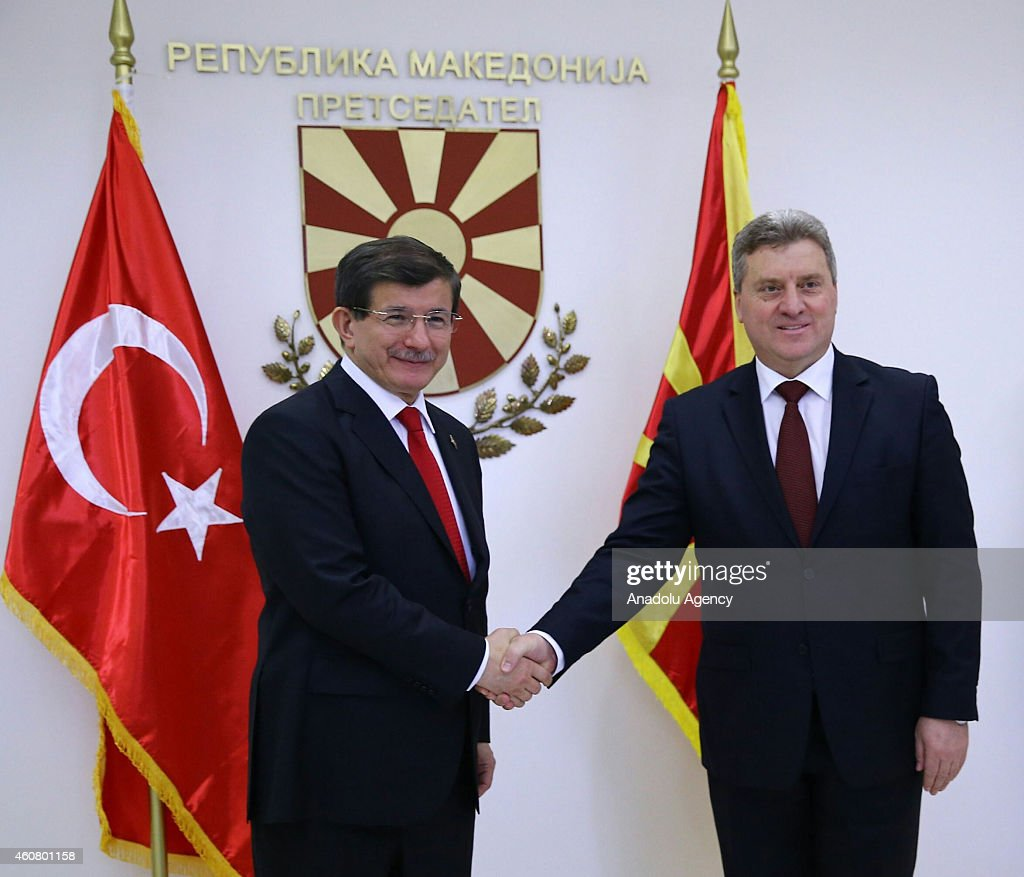 Turkish Prime Minister <a gi-track='captionPersonalityLinkClicked' href=/galleries/search?phrase=Ahmet+Davutoglu&family=editorial&specificpeople=4940018 ng-click='$event.stopPropagation()'>Ahmet Davutoglu</a> (L) is welcomed by President of Macedonia <a gi-track='captionPersonalityLinkClicked' href=/galleries/search?phrase=Gjorge+Ivanov+-+Politician&family=editorial&specificpeople=12777955 ng-click='$event.stopPropagation()'>Gjorge Ivanov</a> (R) ahead of their meeting within Davutoglu's official visit in Skopje, Macedonia on December 23, 2014.