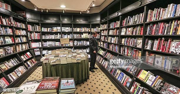 Turkish Prime Minister Ahmet Davutoglu looks at the books at Hatchard Bookshop in London England on January 21 2015